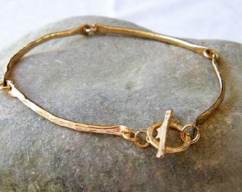 Curved bar bracelet hammered gold bracelet thin gold bracelet gold dainty bracelet