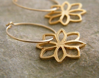 Flower hoop earrings goldfilled earrings