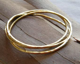 Gold Stack Bracelet set of 3 bracelets hammered gold bangle stacking bangle