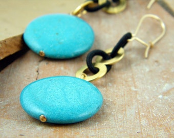 Gold and turquoise earrings blue turquoise earrings