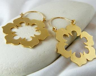 Flower earrings big gold earrings statement earrings