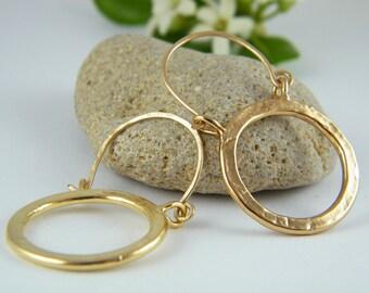 Gold circle earrings gold hoop earrings round earrings