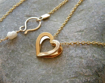 Valentine jewelry Gold heart pendant small gold heart necklace two heart necklace