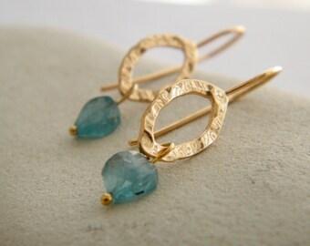 Apatite earrings gold and blue earrings gold dangle earrings