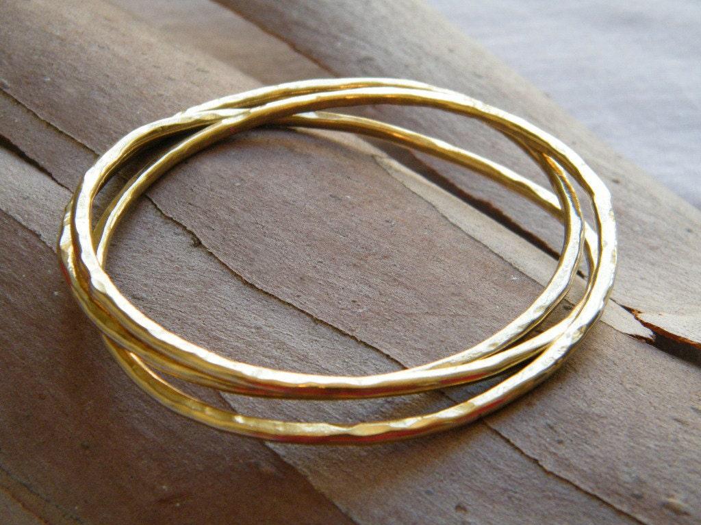 Gold Stack Bracelet set of 3 bracelets hammered gold bangle