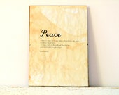 Vintage look Wall Decor, Poster, Sign - Peace