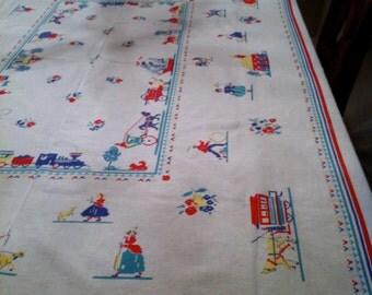 Vintage Linen 1950's Tablecloth