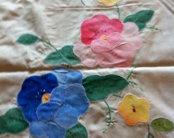 Vintage Large Floral Embroidered Tablecloth