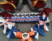 House Divided UF/FL STATE wreath with monogrammed door hanger