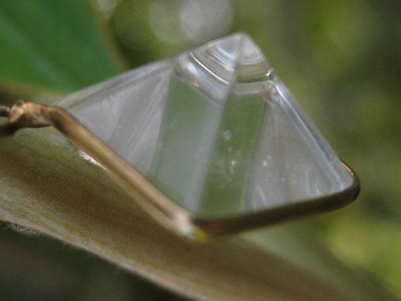 Vintage Handmade Quartz Pendant / Charm / Fob / delicate Tetrahedron  Pyramid