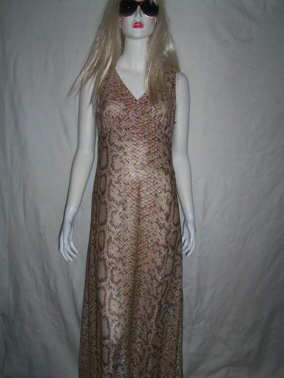 Slinky Sexy Johnnye Vtg Maxi Dress Metallic Snakeskin Hostess Gown & Matching Jacket