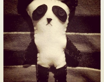 Handmade Sad Panda Felt Toy