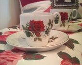 Vintage 1950's 'Brexton' Red Rose Tea Cups and Saucers