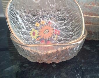 Set of 6 Vintage Apple Shaped Glass Bowls
