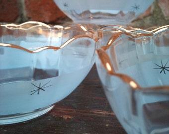 Beautiful Smokey Blue/Gilt Detail Bowl and 6 Dishes