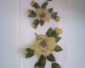 Vintage Yellow Roses Glass Plate