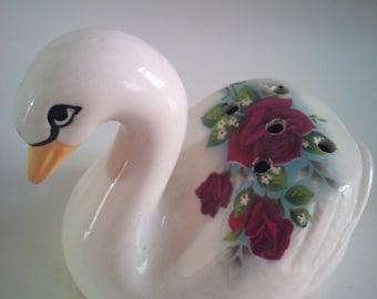 Vintage Floral Swan Ceramic Pomander