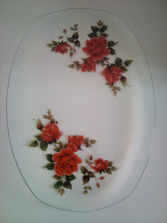 Vintage Rose Glass Plate