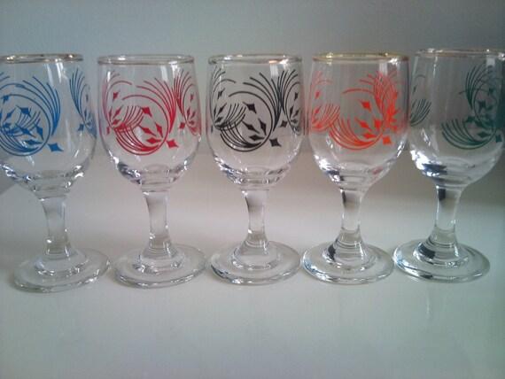 Vintage Multi Coloured Printed  Aperitif / Sherry Glasses x 5