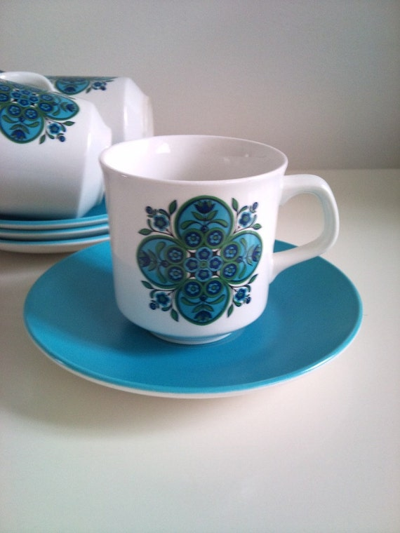 1960s Set of 4 Meakin Blue 'IMPACT' Cups and Saucers