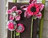 Retro Vintage Children Decor Baby Girl Nursery Decor Fabric Flower Canvas Wall Art Pink Green Brown 8X10