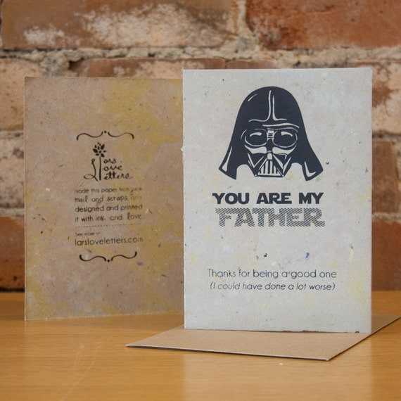 Father's day - Darth Vader  - Hand Printed Recycled