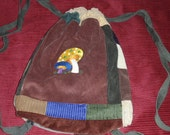 Mushroom Embroidered Corduroy Backpack  Earthtones cinch closure Pockets Large Cute Great Purse