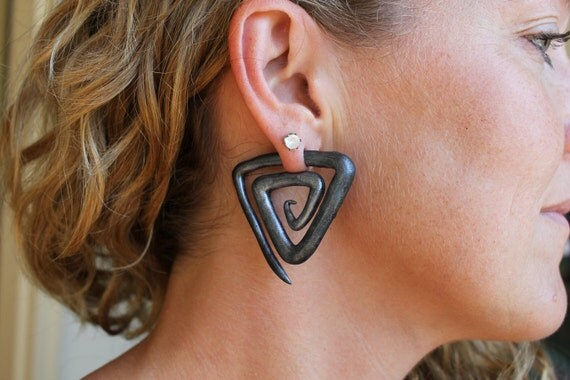 Egyptian Triangles - Gauge or Fake Gauge Earrings
