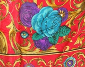 """Vintage Signed Honey Silk Scarf Jewel Tones Made in Japan 31"""" Square Turquoise Teal Purple Green Antique Gold Red Black White"""