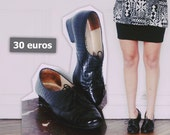 Chaussures noires vernis, talonnettes & écailles - Black vintage varnished scaled shoes