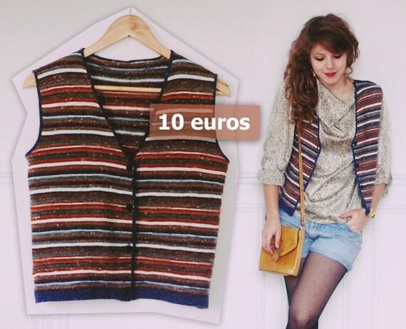 Gilet en laine chaudement strié d'orange, bleu, rouge, vert, blanc, floconneux - Hotly coloured vintage vest