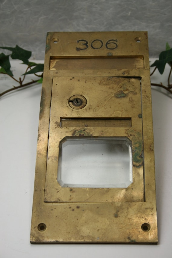 Brass Post Office Box Door- Vintage