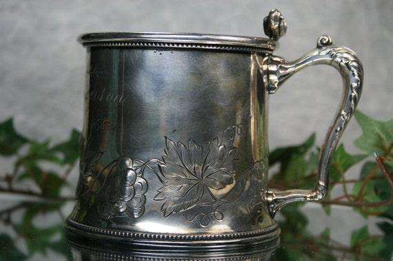 Shaving Mug-Antique Pairpoint Silver Plated Shaving Mug