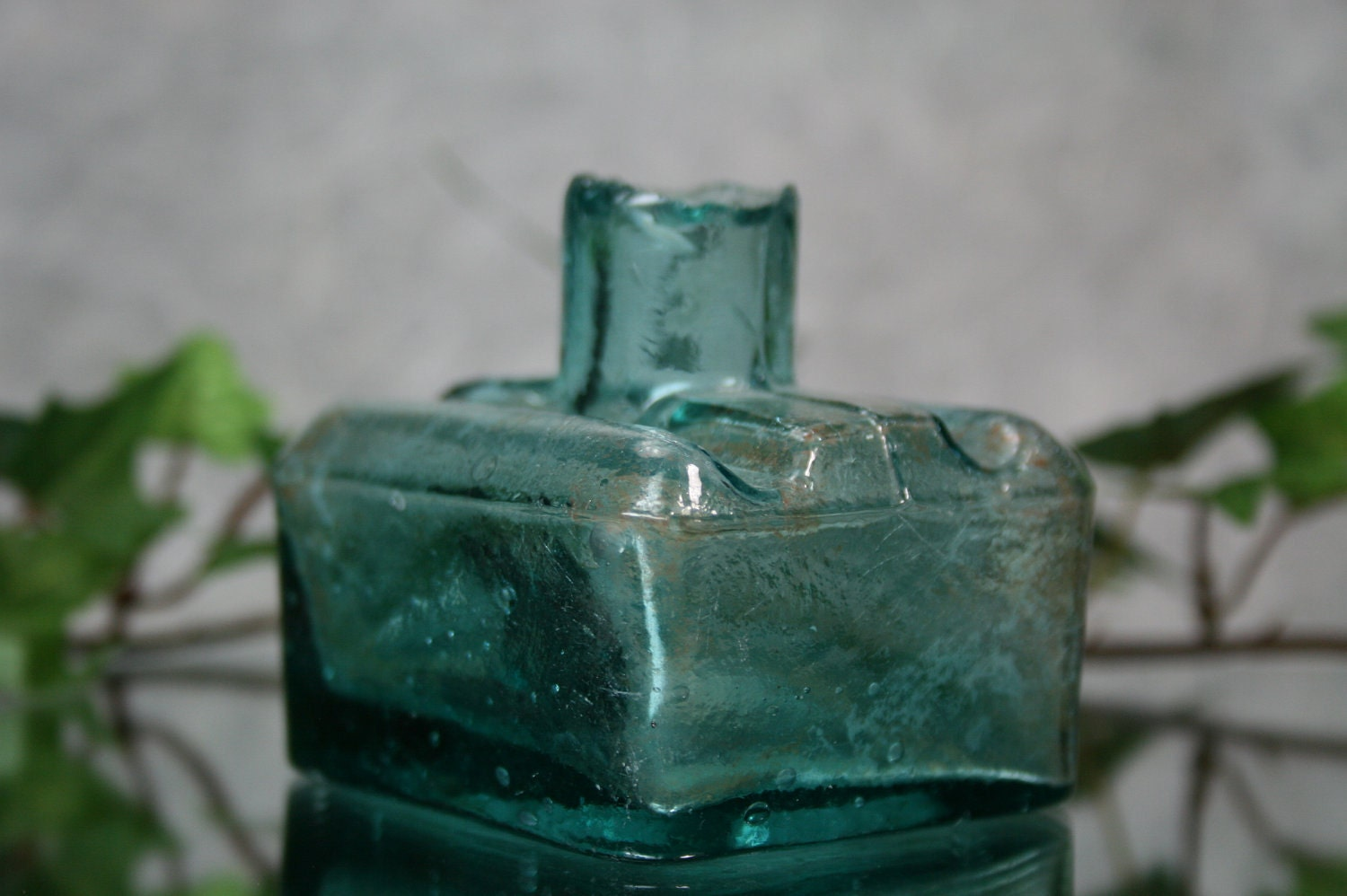 Antique Sheared Glass Top Ink Bottle Teal