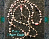 Islamic Prayer Beads Dhikr Tasbih Necklace - Pink Clouds and Silver Stars