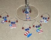 6 piece patriotic wine charm set