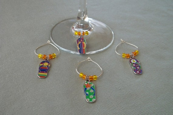 4 pc. Flip Flop Wine Charm Set
