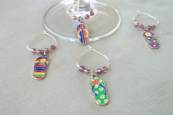 4pc. Flip Flop Wine Charm Set