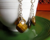 diamond shaped Tiger eye, sterling silver chain Earrings chunky faceted Stone earthy gem