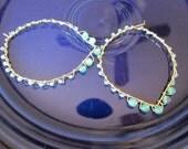 Jennifer forged Lotus Heart Chakra leaf wire wrapped Green aventurine 12k gold fill hoop earring