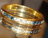 """ONE Size 8 """"Sapphire/Diamond"""" Rhinestones Gold Tone Wedding Engagement Style Band Bands"""