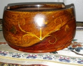 Wooden Wood Coaster Set with Brass Flower Detail
