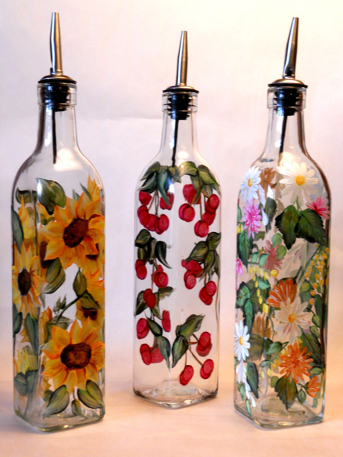 Items similar to hand painted olive oil bottle in for Painting flowers on wine bottles