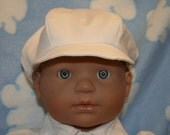 White Newsboy Hat, Kona Cotton, Newborn to 5 years, Christening, Baptism, Dedication, Special Occasion