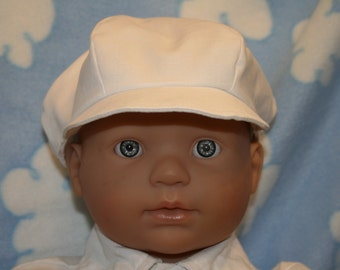 White Newsboy Hat, Kona Cotton, Ready to Ship Christening, Baptism, Dedication, Special Occasion
