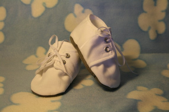 White Baby Boy Shoes, Kona Cotton, Sizes Newborn to 18 months, Christening, Baptism, Dedication, Easter, Special Occasion