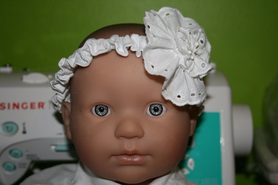 Baby Girl Headband, Eyelet Lace, Made to Order, Sizes to Preschool