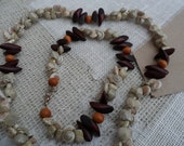 Shells and Wood Bead Necklace & Anklet set