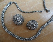 Sparkling Vintage Costume Jewelry Clear Rhinestone Choker Necklace and Clip On Earrings