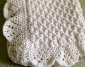 Hand knit Smock pattern Baby Blanket with Beautiful Crocheted Edge - many colors - made to order
